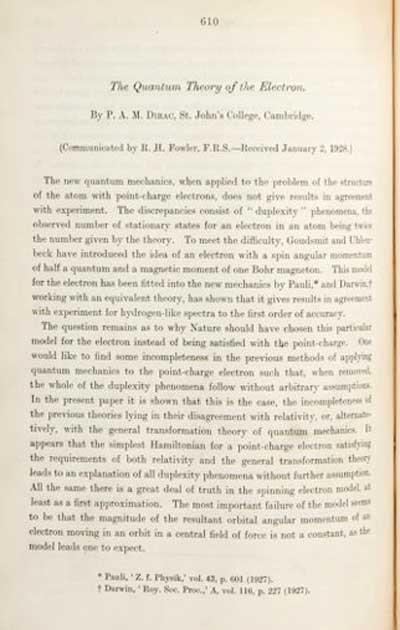 الفرميونات – الجزء الأول ديراك، ماجورانا، فايل: لمحة تاريخية